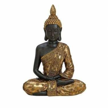Zwart/goud boeddha beeldje zittend 20 cm
