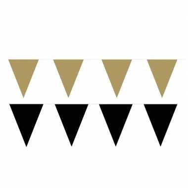 Zwart/gouden feest punt vlaggetjes pakket 200 meter