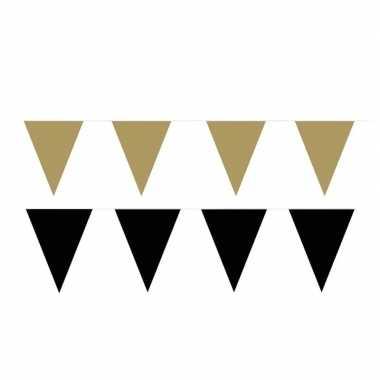 Zwart/gouden feest punt vlaggetjes pakket 60 meter