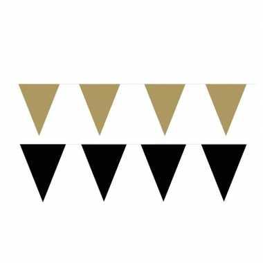 Zwart/gouden feest punt vlaggetjes pakket 80 meter