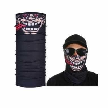 Zwart grappig/funny gezicht biker masker voor volwassennen