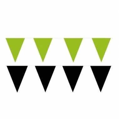 Zwart/groene feest punt vlaggetjes pakket 200 meter