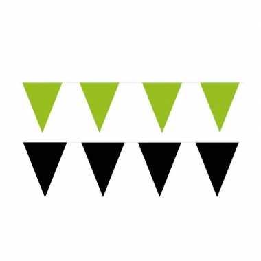Zwart/groene feest punt vlaggetjes pakket 60 meter