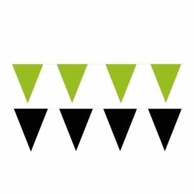 Zwart/groene feest punt vlaggetjes pakket 80 meter
