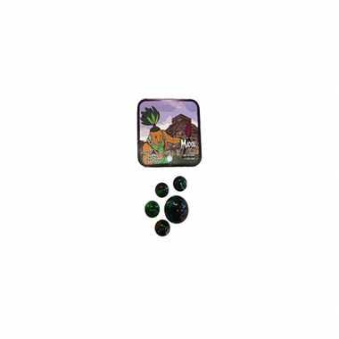 Zwart/groene glazen knikkers 21 stuks
