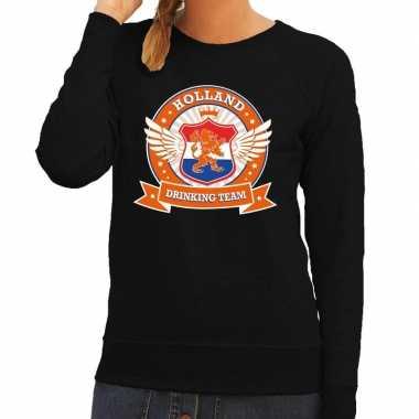 Zwart holland drinking team sweater dames