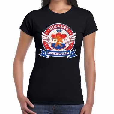 Zwart holland drinking team t-shirt dames