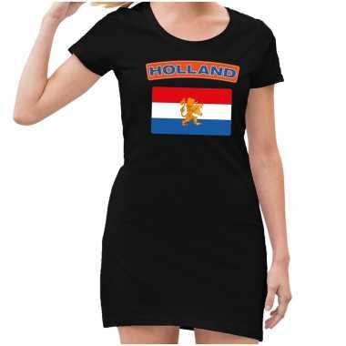 Zwart holland met vlag jurk dames