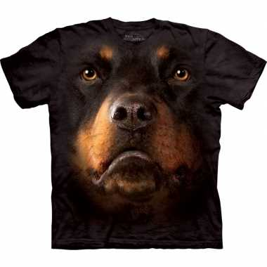Zwart honden t-shirt rotweiler