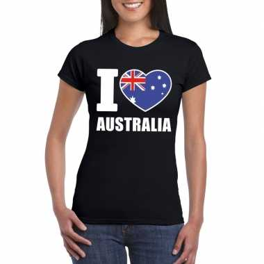 Zwart i love australie fan shirt dames