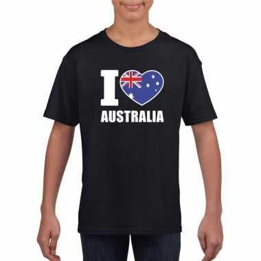 Zwart i love australie fan shirt kinderen