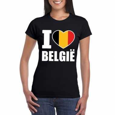 Zwart i love belgie fan shirt dames
