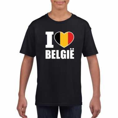 Zwart i love belgie fan shirt kinderen