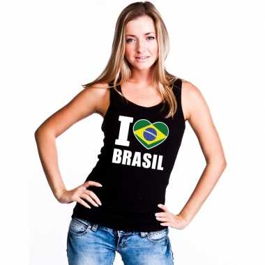 Zwart i love brazilie fan singlet shirt/ tanktop dames