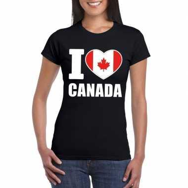 Zwart i love canada fan shirt dames