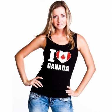 Zwart i love canada fan singlet shirt/ tanktop dames