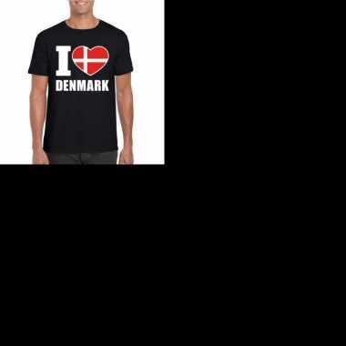 Zwart i love denemarken fan shirt heren