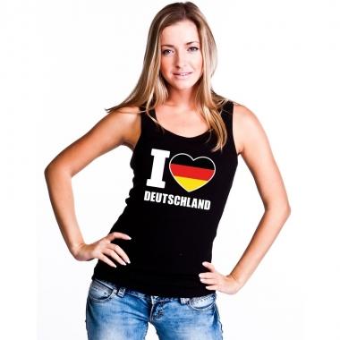Zwart i love duitsland fan singlet shirt/ tanktop dames