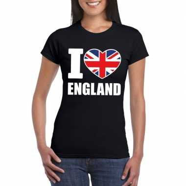 Zwart i love engeland fan shirt dames