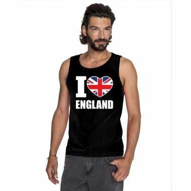 Zwart i love groot-brittannie fan singlet shirt/ tanktop heren