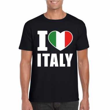 Zwart i love italie fan shirt heren