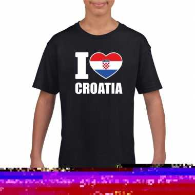 Zwart i love kroatie fan shirt kinderen