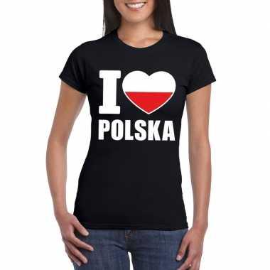 Zwart i love polen fan shirt dames