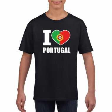 Zwart i love portugal fan shirt kinderen