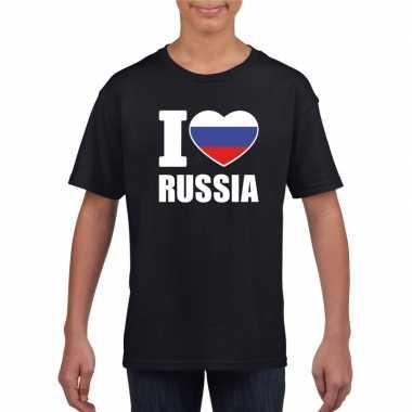 Zwart i love rusland fan shirt kinderen