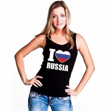 Zwart i love rusland fan singlet shirt/ tanktop dames