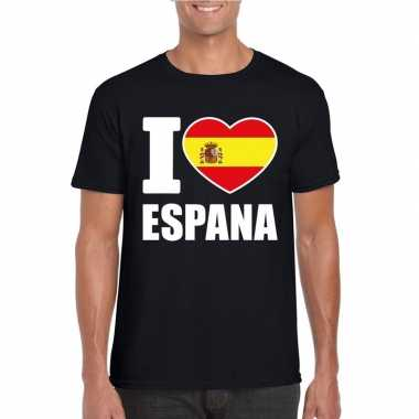 Zwart i love spanje fan shirt heren