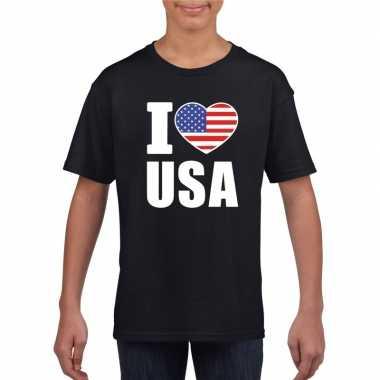 Zwart i love usa - amerika fan shirt kinderen