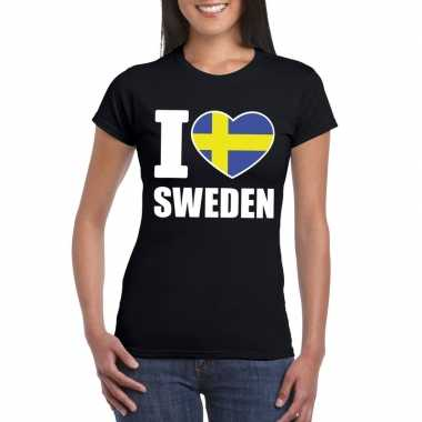 Zwart i love zweden fan shirt dames