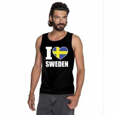 Zwart i love zweden fan singlet shirt/ tanktop heren