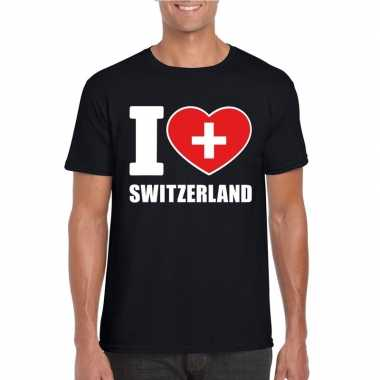 Zwart i love zwitserland fan shirt heren