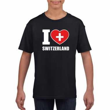 Zwart i love zwitserland fan shirt kinderen