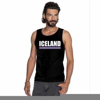 Zwart ijsland supporter singlet shirt/ tanktop heren