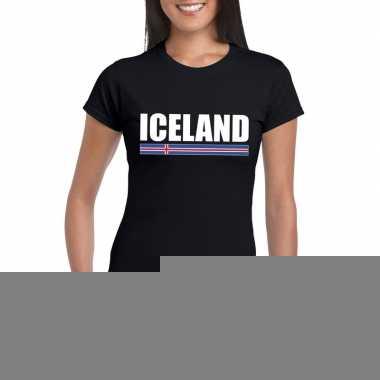 Zwart ijsland supporter t-shirt voor dames