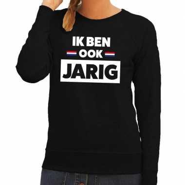 Zwart ik ben ook jarig sweater met hollandse vlag dames