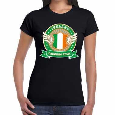 Zwart ireland drinking team t-shirt dames