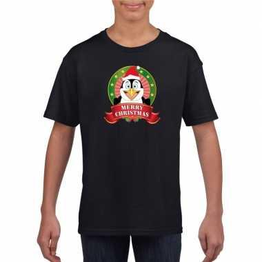 Zwart kerst t-shirt voor kinderen met een pinguin