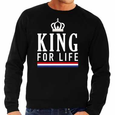 Zwart king for life sweater voor heren