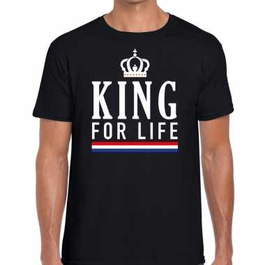 Zwart king for life t-shirt voor heren