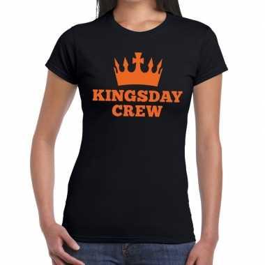 Zwart kingsday crew t-shirt voor dames
