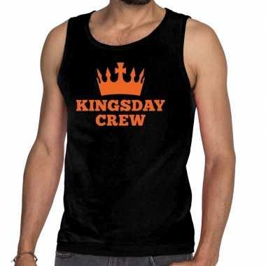 Zwart kingsday crew tanktop / mouwloos shirt voor