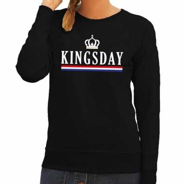 Zwart kingsday en hollandse vlag sweater dames