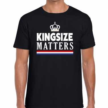 Zwart koningsdag kingsize matters t-shirt voor heren
