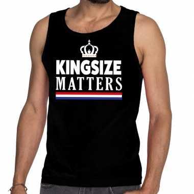 Zwart koningsdag kingsize matters tanktop voor heren