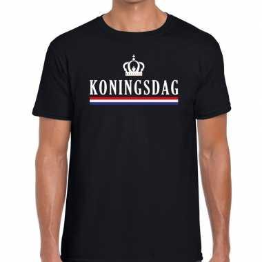 Zwart koningsdag met vlag en kroontje t-shirt voor heren