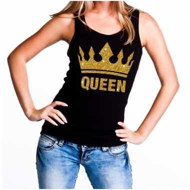 Zwart koningsdag queen tanktop met gouden glitters dames